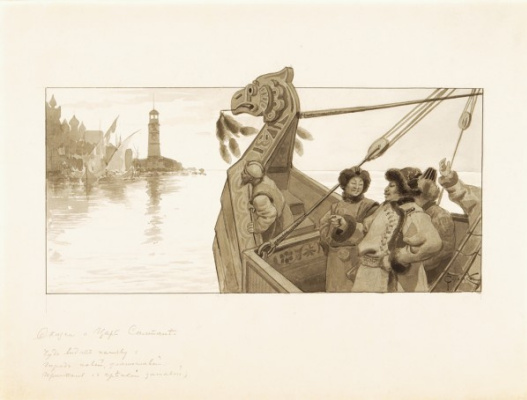 """Sergey Sergeyevich Solomko. """"The tale of Tsar Saltan"""" 1890-1900 """"the Miracle you see in reality the City's new, gold-domed Marina with a strong Outpost"""""""