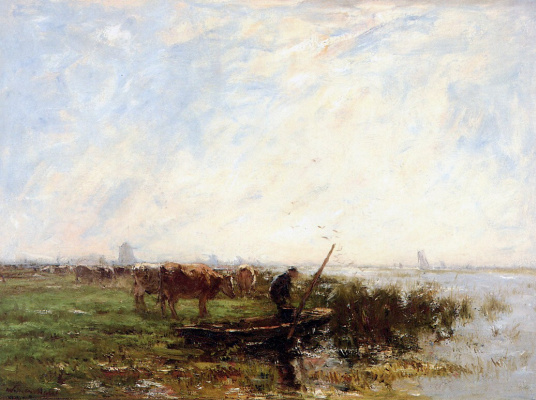 Willem Maris. Landscape with cows