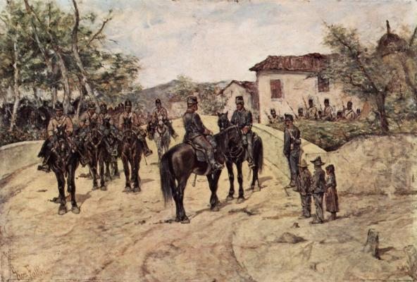 Джованни Фаттори. Кавалерийский отряд на привале