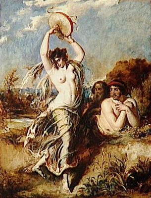 Etty William. Bacchante beats the drum