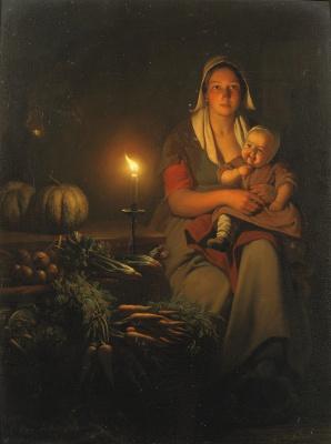 Петрус ван Шендель. Мать с ребенком на ночном рынке.