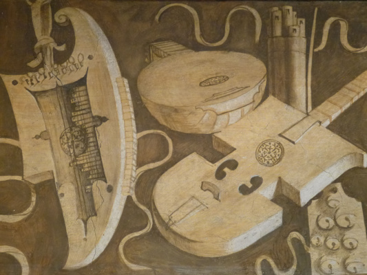 """Giorgione. Frieze """"Free art and mechanical art"""". Musical instruments"""