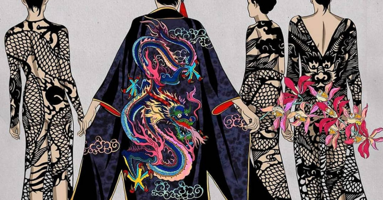 "Ekaterina Belyavskaya. Kimono. ""Thirteen Orchids for the Empress"""