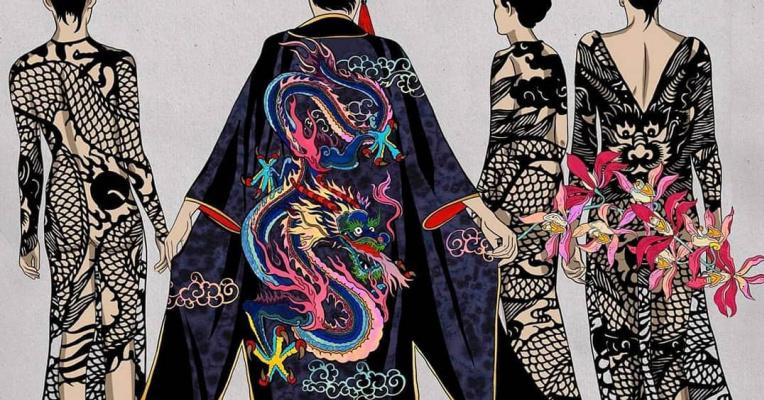 """Ekaterina Belyavskaya. Kimono. """"Thirteen Orchids for the Empress"""""""