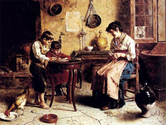 Эухенио Зампигхи. Дети и рукодельница-мать