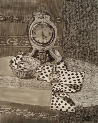 Still life with clock and bracelet