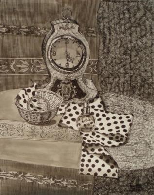 Larissa Lukaneva. Still life with clock and bracelet