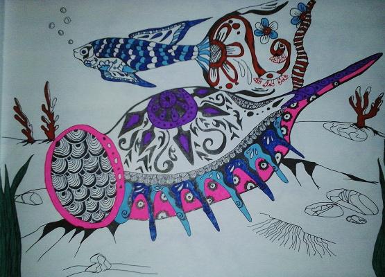 "Nikolai Nikolaevich Olar. Series of stylized drawings: ""Underwater fantasy"" (15)"