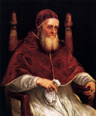 Titian Vecelli. Portrait of Pope Julius II (after Raphael)