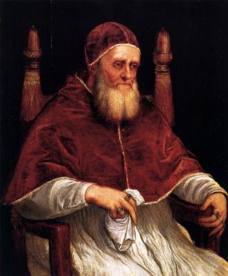 Тициан Вечеллио. Портрет папы Юлия II (по Рафаэлю)