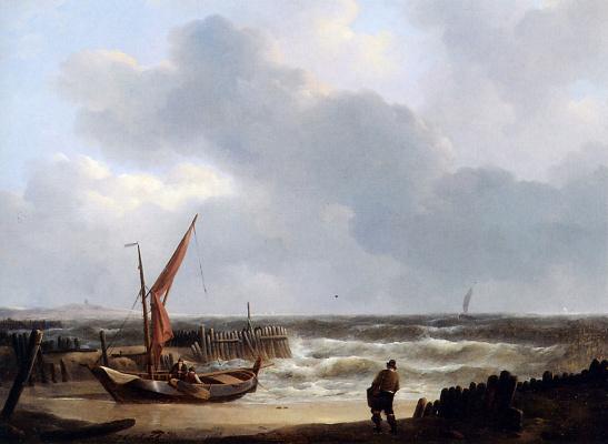 Йоханнес Шотел. Парусный корабль на пляже