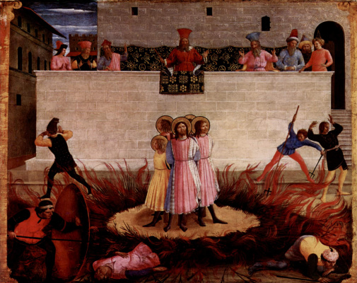 Фра Беато Анджелико. Центральный алтарь святых Косьмы и Дамиана из доминиканского монастыря Сан Марко во Флоренции, основание триптиха, четвертая сце