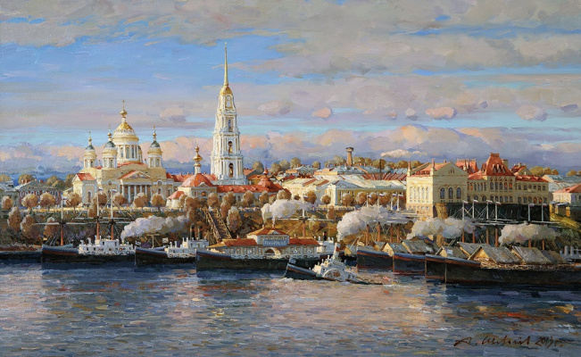 Alexander Victorovich Shevelyov. Cathedral and stock exchange.Autumn. Oil on canvas 45, 4 x 76, 5 cm 2013