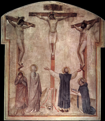Fra Beato Angelico. Crucifixion of Christ and the two thieves. Fresco of the Monastery of San Marco, Florence