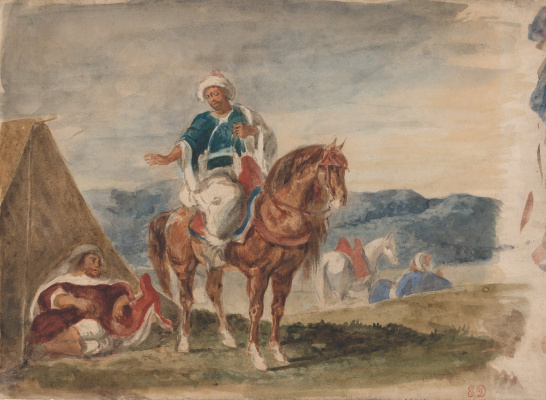 Three Arab horsemen in the camp