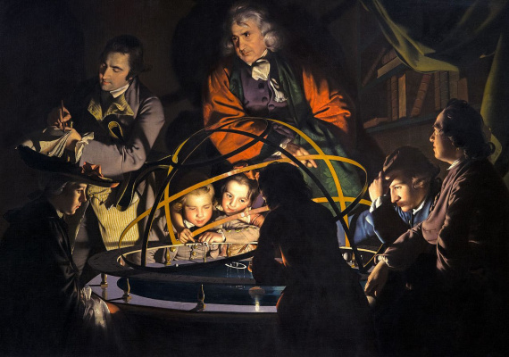 Joseph Wright. Philosopher explaining the model of the solar system, approx. 1766