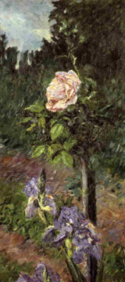 Гюстав Кайботт. Роза с фиолетовым ирисом. Сад в Петит Женвильер