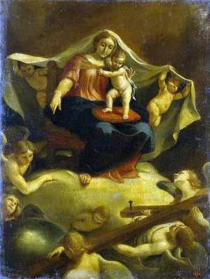Себастьян Мартинес. Богоматерь с младенцем, сидящая на троне на облаках