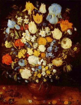 Jan Bruegel The Elder. A small bouquet of flowers in a clay pot
