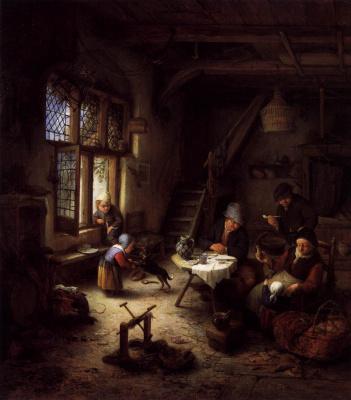 Adrian Jans van Ostade. Peasant family at home