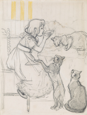 Theophile-Alexander Steinlen. Girl with cats