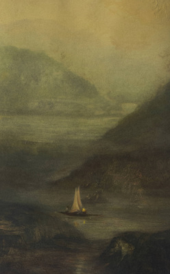 Ольга Акаси. Slow Speed of a Sailing Boat Entering The Fjord in The Early Morning