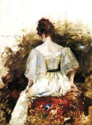 William Merritt Chase. Portrait of woman in white dress