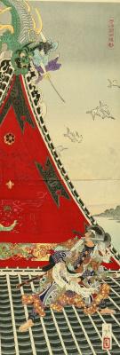 Tsukioka Yoshitoshi. Diptych: the Duel Inuzuka Shino and Inukai Genati on the roof of the tower of Koga castle