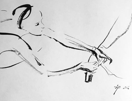 Андрей Владимирович Ремнев. Подвязывающая балетку. 2016  китайска тушь