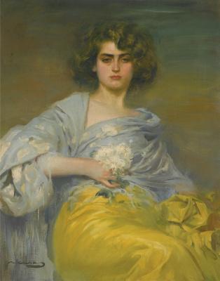 Ramon Casas i Carbó. Julia in a pale blue shawl