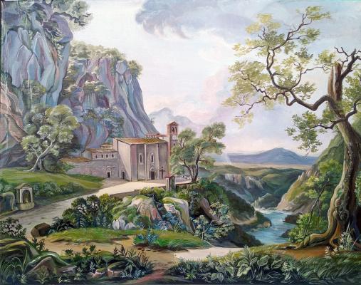 Viola Larkina. Вид на монастырь в римской сельской местности