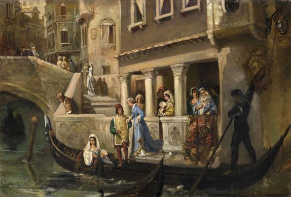 Wilhelm Kotarbinsky. Landing into a gondola of the Venetian nobility
