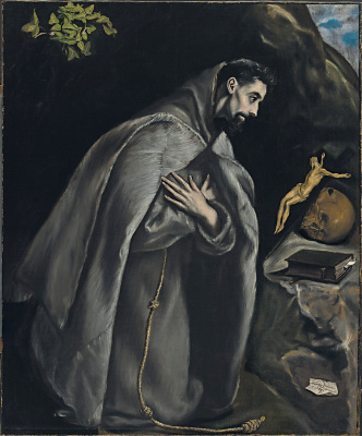 Domenico Theotokopoulos (El Greco). St Francis in prayer before the crucifix