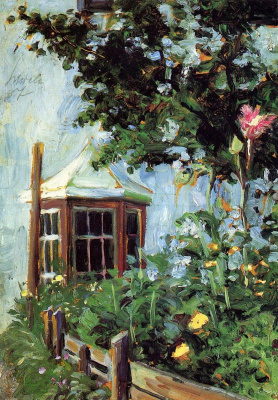 Egon Schiele. House with a Bay window in the garden