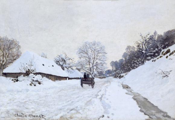 Claude Monet. A cart on the snowy road and the farm of Saint-Simon
