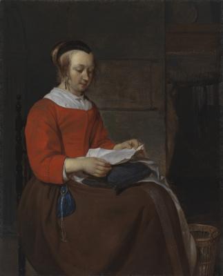Габриель Метсю. Молодая женщина, читающая письмо