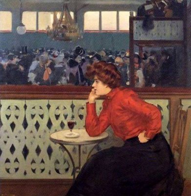 Ramon Casas i Carbó. At a table in the Moulin de la Galette
