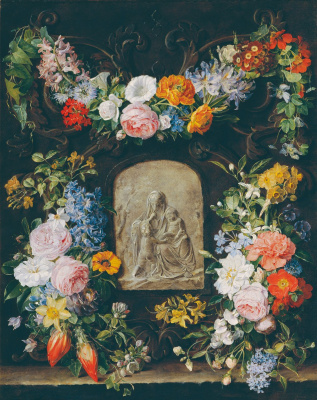 Blumenkranz mit Madonnenrelief