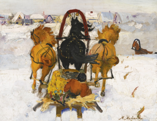Philip Andreevich Malyavin. Troika in the snow