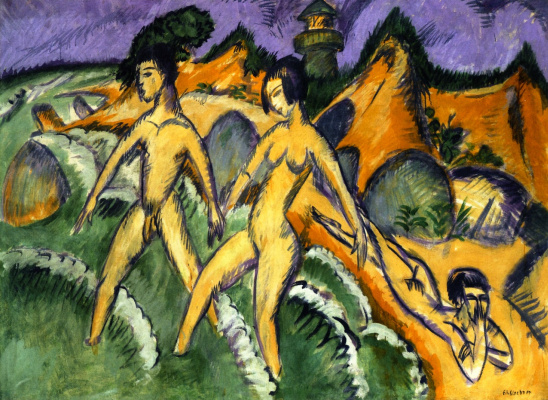 Ernst Ludwig Kirchner. Swimmers enter the sea