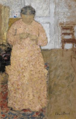 Жан Эдуар Вюйар. Женщина в розовом за вязанием
