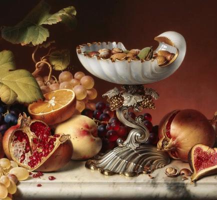 Johann Wilhelm Prairie. Still life with fruit. 1836 detail