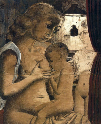 Paul Delvo. A mother feeds her child
