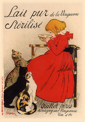 "Theophile-Alexander Steinlen. Promotional poster of ""Pure sterilized milk from the shores Vangani!"""