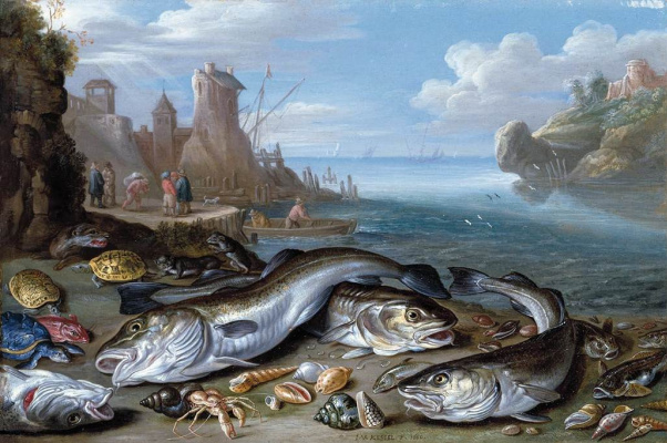 Jan van Kessel Elder. Gulf fish on the Bank