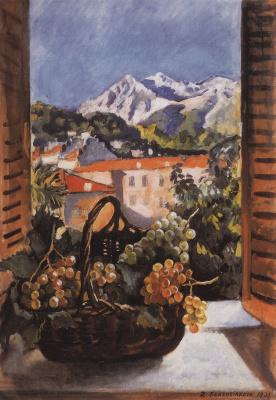 Зинаида Евгеньевна Серебрякова. Корзина с виноградом на окне. Ментона