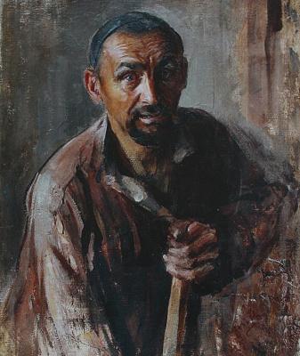 Pavel Petrovich Benkov. Portrait of a loader Tatar