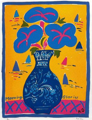 Кен Дан. Цветы в синей вазе