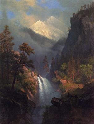 Альберт Бирштадт. Каскадный водопад на закате