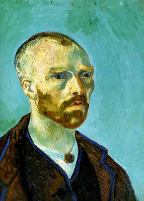 Vincent van Gogh. Self-portrait with a shaved head. Dedicated To Paul Gauguin